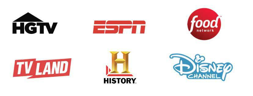 HGTV, ESPN, Food Network, TV Land, History Channel, Disney Channel